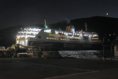 30-Grce Greece 07/2015 (Chanudaud) Tags: sea mer moon night port lune landscape island boat nikon village ngc greece bateau paysage nuit grce andros cyclades nationalgeographic le