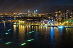 Rotterdam at night (neerod81) Tags: city night reflections river rotterdam lasershow lightshow