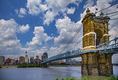 John A. Roebling Suspension Bridge (Notkalvin) Tags: bridge ohio skyline clouds river cityscape outdoor kentucky cincinnati suspensionbridge cloudporn ohioriver covington roebling expanse johnaroeblingsuspensionbridge mikekline notkalvin notkalvinphotography