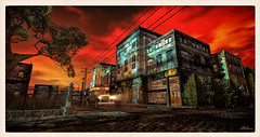 Innsmouth (Bleem Belargio) Tags: red car headlights sl secondlife horror hplovecraft innsmouth