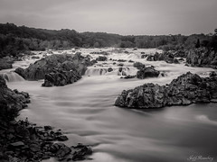 The Falls (b&w) (jiroseM43) Tags: nature water river lumix greatfalls panasonic waterfalls potomac potomacriver greatfallsnationalpark gh3 1235mm dmcgh3
