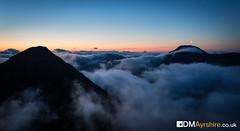 Crescent over clouds [IMG_6133] (GammyKnee) Tags: cloud moon mountain scotland hill peak crescent glencoe inversion buachaille etive beag