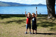 Grandsons at Boetcher Park, Polson, MT... (ltodd1) Tags: skye golf sage course polson
