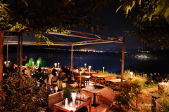 table with view (g_athens [swaping]) Tags: trees light summer lake night table cafe view reastaurant