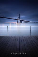 Tagus Balcony (FredConcha) Tags: bridge rio sunrise landscape lights nikon lisbon ponte lee tejo d800 expo98 tagusriver pvg vascodagamabridge fredconcha