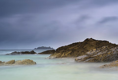 A Stormy Morning At Harlyn. (Andy Bracey -) Tags: bracey andybracey landscape seascape sea beach rocks blur movement longexposure littlestopper leefilters clouds atlantic coast coastal harlyn harlynbay bay cornwall england