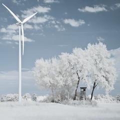 16 08 KSU 2 Windrad Hochsitz [ andre gansebohm] (Andre Gansebohm) Tags: white blue light surreal ir 700nm infrared landscape clean design pastel trees windturbine sunlight sky clouds