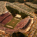 Aerial view of Carter-Finley stadium during a football game; 1983