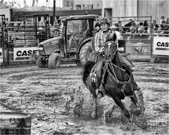 Barrel Race -2660 b&w (DASA Images) Tags: ram rodeo markhamfair ontario horse cowgirl rider monochrome bw blackandwhite