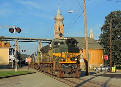 NS (Erie) 1068 (Trains & Trails) Tags: streetrunning crossing railroad train engine locomotive diesel transportation widecab ns norfolksouthern 1068 n23 heritage erie emd sd70ace westbrownsville pennsylvania washingtoncounty