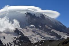 Mt Rainier Prefers Shade (Sotosoroto) Tags: dayhike hiking mtrainier burroughsmountain cascades mountains washington volcano cloud lenticular