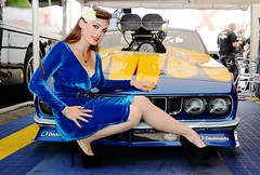 Holly_9662 (Fast an' Bulbous) Tags: blue velvet dress girl woman high heels stilettos shoes hot hotty sexy chick babe car vehicle automobile plymouth cuda muscle mopar promodified nikon d7100 gimp flash people racecar drag race strip track pits seamed stockings curves curvy engine blower supercharged produtch england eurofinals