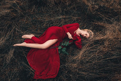 Roses are red (Adam Bird Photography) Tags: adambirdphotography adambird sarahgray fairytale red dress rose portrait fashion surreal conceptual giant colour prop fineart pov
