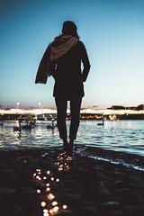 Follow the light, and it will follow you... (Ronan Siri Photography / @:ronan.sirim@gmail.com) Tags: girl light city urban winter explore human woman france europe blue sky night water reflection animals canon eos dslr 5dmarkiii tamron 35mm
