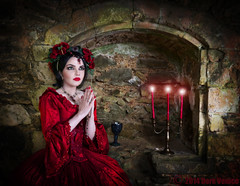 Redemption (Azadeh Brown) Tags: red fairytale candles arch princess goth medieval tudor queen vogue fantasy imagination masquerade gothgirl gown azadeh 18thcentury darkart rosered gothchick newromantic gothbride gothwedding darkbeauty darkfairytale gothicqueen azacdesigns azadehbrown