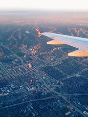 Los Angeles (mlee525) Tags: california travel sunset la flying losangeles 10 airplanes 405 westwood freeways westla iphone thevalley virginamerica