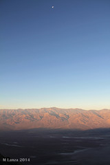 Moon at Sunrise in Death Valley (mlanza) Tags: california moon sunrise nationalpark deathvalley badwaterbasin panamintmountains dantesview