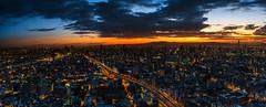Osaka Sunrise (Sandro Bisaro) Tags: city longexposure sky urban panorama japan skyline architecture clouds sunrise canon dark japanese lights lowlight highway asia cityscape skyscrapers  highways  nippon osaka lighttrails nihon traffictrai