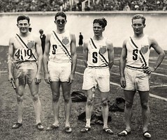 United States 1928 Olympic gold medalists in the 4 x 400 meter relay, Amsterdam: (L-R) Raymond Barbuti, Emerson Spencer, Fred Alderman and George Baird (The Happy Rower) Tags: usa field amsterdam by four gold us track united games medal american 400 runners states meter olympic olympics 1928 relay winners victors sprints medalists 4x400 georgebaird emersonspencer raybarbuti fredal