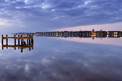 reflections (dK.i photography) Tags: longexposure glass clouds sunrise reflections landscape dawn mirror maryland pilings bluehour cloudscape waterscape singray riverscape woodensoldier neutraldensity rgnd severnriverannapolis