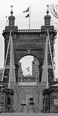 Roebling bridge (sharon'soutlook) Tags: bridge blackandwhite bw cincinnati historic oh suspensionbridge johnaroeblingbridge