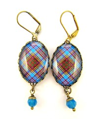 Ancient Romance Series - Scottish Tartans Collection - Anderson Ancient  Clan Tartan Earrings with Caribbean Blue Swarovski Crystal