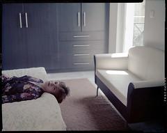 kimono (thodoris markou) Tags: portrait house color film analog bed kodak indoors 4x5 kimono largeformat aero graflex speedgraphic ektar pacemaker jobo cpe2 internegative 178mmf25 digibasec41