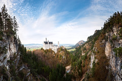 Neuschwanstein Panorama (Philipp Klinger Photography) Tags: bridge trees panorama mountain lake mountains alps tree castle water rock river germany landscape bayern deutschland bavaria nikon pano valley gorge alpen neuschwanstein philipp hohenschwangau schlucht d800 allgu schwangau klinger marienbrcke