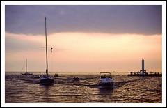 Lake Michigan Sunset on a Dinner Cruise - 1988 (sjb4photos) Tags: sunset michigan lakemichigan hollandmichigan epsonv500