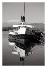 Maid Of The Loch  b/w 2 (Dave Trott) Tags: scotland lochlomond paddlesteamer maidoftheloch