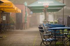 morgendlicher Dunst (mkniebes) Tags: urban mist fog umbrella pub dof nebel chairs depthoffield bochum dunst zf2 makroplanar2100