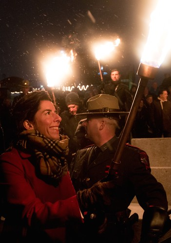 Rhode Island's new Governor, Gina Raimondo, is all smiles at the RI Inauguration 2015 WaterFire. Photo by Jen Bonin.