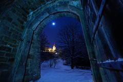 Winter Wonderland (mattrkeyworth) Tags: schnee moon snow night zeiss germany deutschland mond gate nacht tor nuit würzburg festungmarienberg mainfranken nightset mattrkeyworth würzburgimwinter sonya7r ilce7r variotessartfe41635 sel1635z