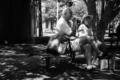 Shaded (Vincent Albanese) Tags: street summer bw hot photography couple fuji sydney streetphotography sunny australia rest shady lightroom xpro1 fujixpro1 xf18mm
