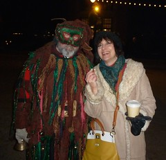 Deb with a hot chestnut, smile with a street Mummer (Tatiana12) Tags: christmas family holiday history michigan deborah deb merrychristmas dearborn 2014 greenfieldvillage holidaynights