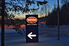 Are you hungry? Is it cold? Welcome to Hesburger! :-) (L.Lahtinen) Tags: blue winter snow cold colors suomi landscape evening nikon frost view burger scape talvi maisema lunta ilta hesburger pakkanen