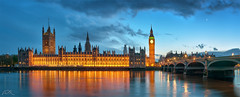 THE PALACE OF WESTMINSTER (Robert Prucha) Tags: city uk longexposure greatbritain travel bridge blue light england sky panorama moon reflection london tower monument westminster thames skyline architecture clouds river gold nikon europe cityscape britain dusk capital kingdom parliament bigben palace bluehour hdr d90 oloneo