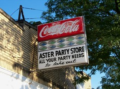 OH Akron - Aster Party Store (scottamus) Tags: old ohio sign vintage coke plastic cocacola summitcounty softdrink sodapop akton asterpartystore