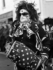 Pig Dyke Molly at the Straw Bear (Trojan_Llama) Tags: bw film festival mediumformat blackwhite dance dancer ilfordhp5 drummer plus morris whittlesea whittlesey strawbear pigdykemolly