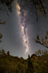Spirey View (robertdownie) Tags: trees sky mountains rock forest stars rocks australia astrophotography nsw newsouthwales nightsky peaks dyke volcanic warrumbungles breadknife milkyway bushland warrumbunglenationalpark shieldvolcano grandhightops peralkalinetrachyte spireryview