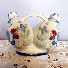 Vintage Nasco Blue Rooster Oil & Vinegar Ceramic Cruet Set (karalennox) Tags: chicken japan vintage handpainted rooster etsy nasco madeinjapan mij oilandvinegar cruetset cruets bluerooster