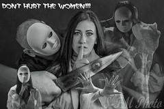 Campaign against violence against women (sfmphoto.sajtifaragomagdolna) Tags: white man monochrome hurt nikon women mask fear violence blackand abuse silente