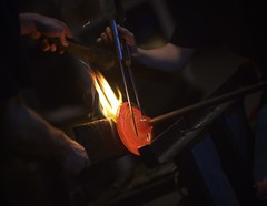 Glasscraft (Mike.Geiger.ca (Myke)) Tags: canada hot glass night dark fire flames spinning nuitblanche glassblowing blown molten forming redglow shaping explored montreal espaceverre