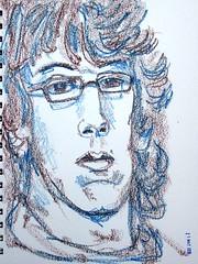 The Man in the Glasses (IrinaIrina) Tags: portrait people sticks sketchbook neocolor