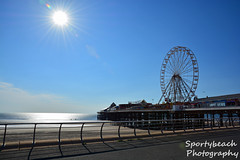 Central Pier (jonnywalker) Tags: sea wheel coast pier seaside bluesky lancashire promenade ferriswheel seafront funfair blackpool centralpier
