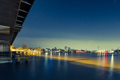 Under the Bridge (Sam's-Photo's) Tags: city longexposure nightphotography blue light urban holland reflection water lines architecture night river cityscape moonlight
