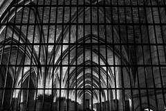 spooky black & white view of Salle des Gens d'armes (Hall of the soldiers) from behind bars, Conciergerie, Paris, France (grumpybaldprof) Tags: shadow blackandwhite bw black paris france detail texture monochrome contrast vanishingpoint blackwhite stones bricks columns arches palace medieval spooky prison pillars tone hdr guillotine conciergerie merovingian bwhdr barscontrast frenchrevolution saintechapelle islandofthecity louisix lawcourts salledesgardes guardroom salledesgensdarmes hallofthesoldiers kingphilipthefair palaisdelacit 10thtothe14thcenturies kingsoffrance saintlouis 12141270 philippeiv philipthefair 12841314 revolutionaryprison palaisdejustice ledelacit marieantoinette