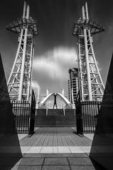 Millenium Bridge (neilconnelyphoto) Tags: longexposure urban blackandwhite monochrome architecture manchester salfordquays symmetry mediacity fujifilmxa2