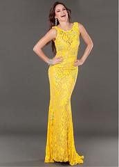 Chic Lace Bateau Neckline Floor-length Sheath Homecoming Dress (miyadresses2016) Tags: lacedress golddress sheathdress longdress halterdress floraldress elegantdress occasiondress