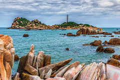 Ke Ga lighthouse, Vietnam (minhty0602) Tags: ocean sea sky cloud lighthouse beach rock clouds landscape island rocks afternoon pentax sigma wave vietnam beautifulview cloudysky k3 famousplace binhthuan binhthuanprovince sigma1750 kega pentaxk3